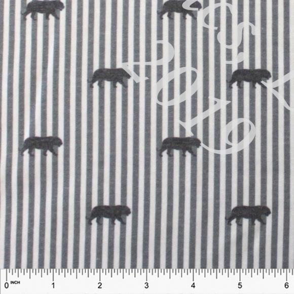 Tonal Grey Charcoal and White Tiger Vertical Stripe French Terry Fleece Sweatshirt Knit Fabric, CLUB Fabrics - Raspberry Creek Fabrics