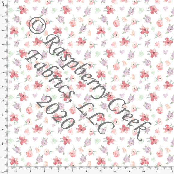 Salmon Mauve Mint and Sage Tiny Tossed Watercolor Heart Floral, For Club Fabrics - Raspberry Creek Fabrics