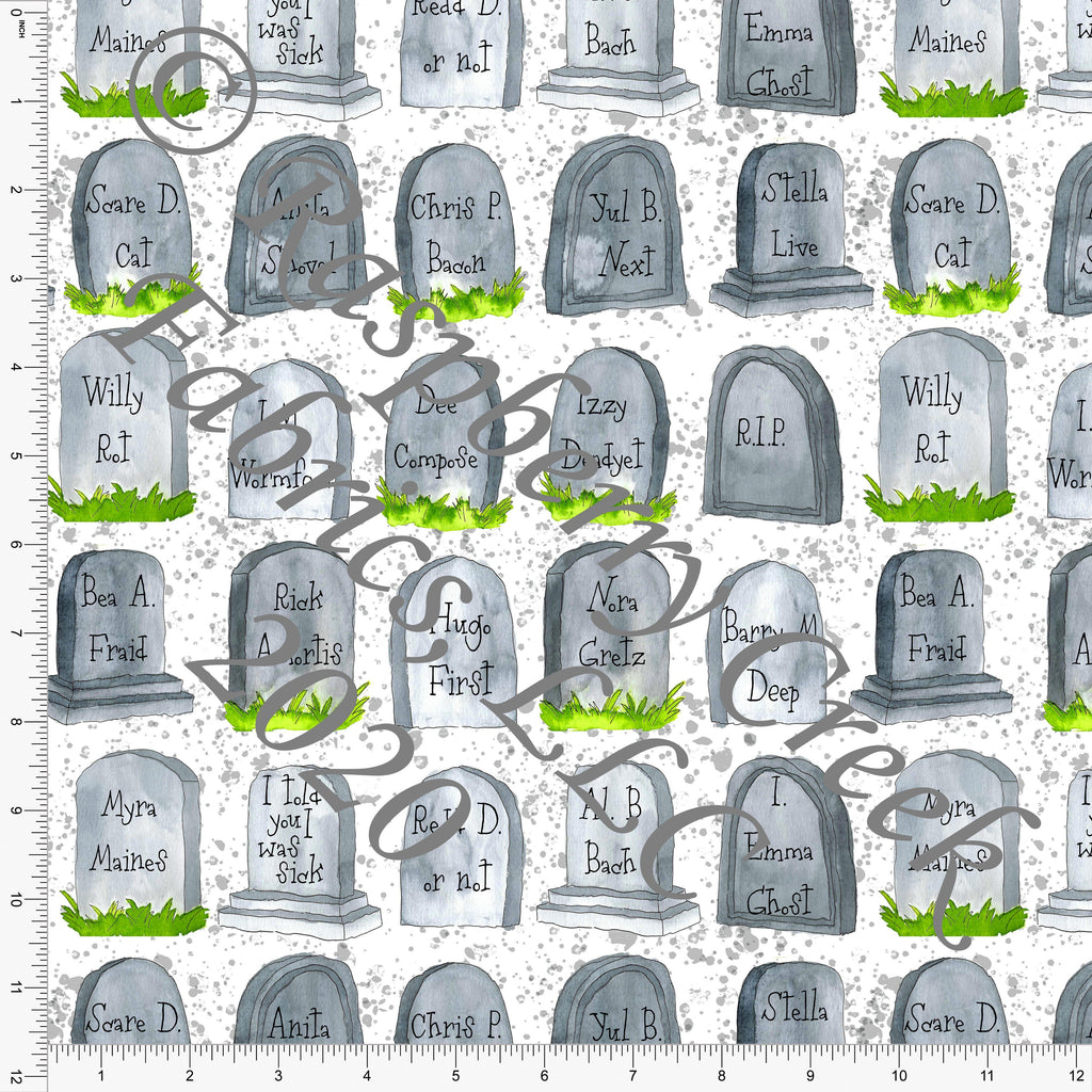 Tonal Grey and Green Tombstones, Fall Into Halloween By Brittney Laidlaw for Club Fabrics - Raspberry Creek Fabrics