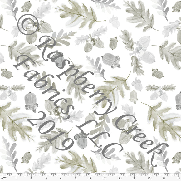 Olive Green and Grey Tonal Acorn Leaves by Elise Peterson for Club Fabrics - Raspberry Creek Fabrics