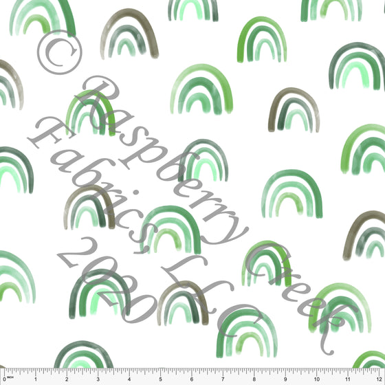 Tonal Green and Grey Watercolor Rainbow Print by Kelsey Shaw for Club Fabrics - Raspberry Creek Fabrics
