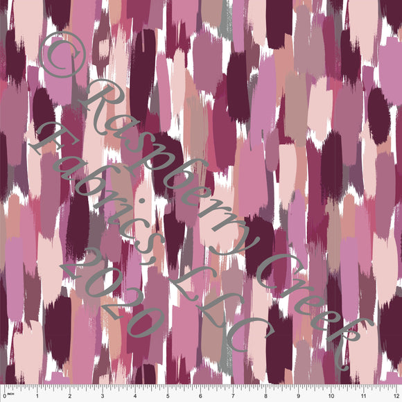 Tonal Magenta Pink and Beige Painted Stripe Print Ponte De Roma Knit Fabric, CLUB Fabrics, 1 yard - Raspberry Creek Fabrics