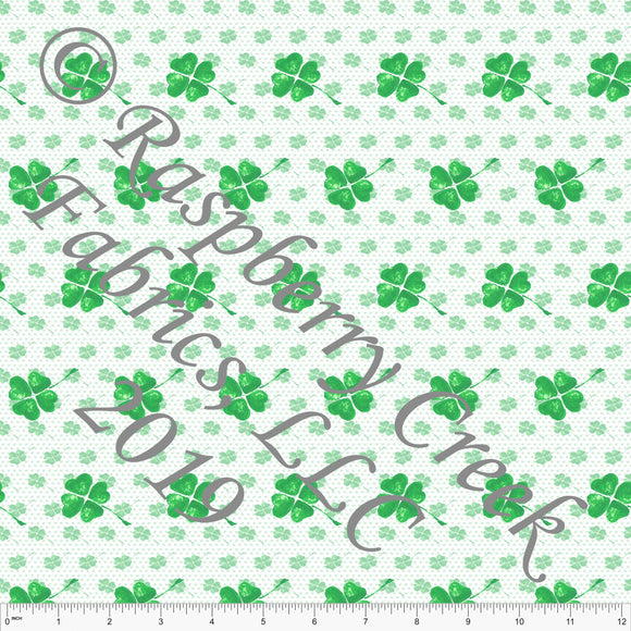 Kelly Green Shamrock 4 Way Stretch Jersey Knit Fabric, St. Patricks Day By Elise Peterson for CLUB Fabrics - Raspberry Creek Fabrics