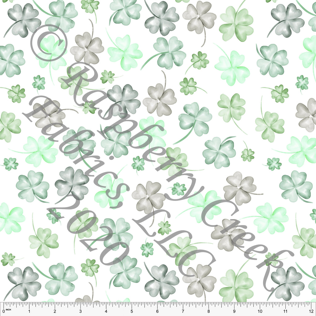 Tonal Green and Grey Watercolor Shamrock Print by Kelsey Shaw for Club Fabrics - Raspberry Creek Fabrics