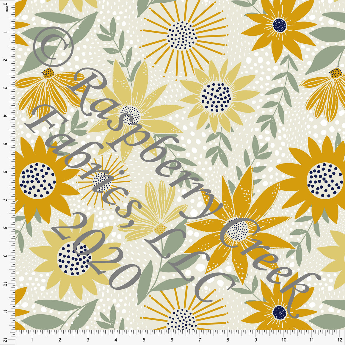 Tonal Yellow Mustard Sage and Navy Daisy and Sunflower Floral Print Double Brushed Poly Knit Fabric, Abundant by Kimberly Henrie for CLUB Fabrics - Raspberry Creek Fabrics