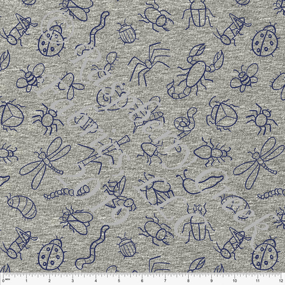 Navy Blue Tossed Bugs on Heathered Grey 4 Way Stretch Jersey Knit Fabric, Spring Garden by Emily Ferguson for Club Fabrics