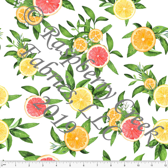 White Yellow Tangerine Coral and Green Citrus Fruit Floral Sueded Microfiber Woven Board Short Fabric, CLUB Fabrics - Raspberry Creek Fabrics