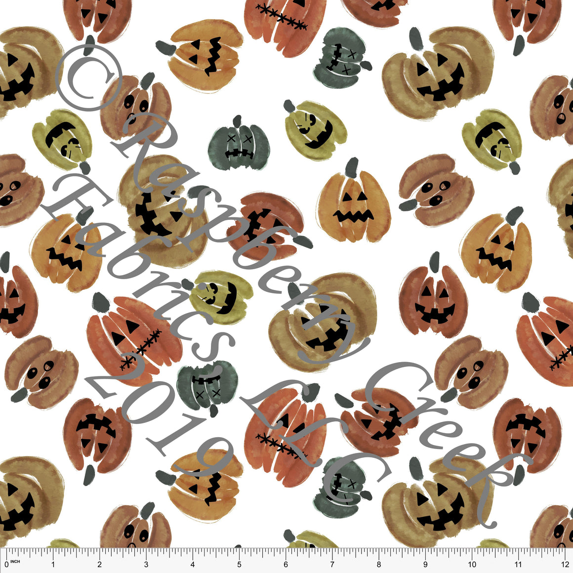 Rust Hunter Green and Warm Camel Watercolor Tossed Jack-O-Lanterns, By Kelsey Shaw for Club Fabrics - Raspberry Creek Fabrics