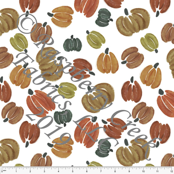 Rust Hunter Green and Warm Camel Watercolor Tossed Pumpkins, By Kelsey Shaw for Club Fabrics - Raspberry Creek Fabrics