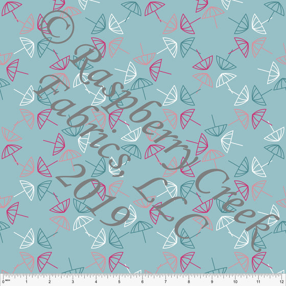 Teal Coral Fuchsia and White Umbrella 4 Way Stretch MATTE SWIM Knit Fabric, By McKenzie Powell for Club Fabrics - Raspberry Creek Fabrics