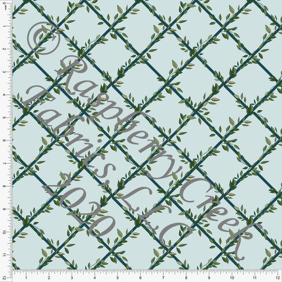 Light Blue and Deep Teal Trellis Leaves Print Double Brushed Poly Knit Fabric, Garden Florals By Lisa Mabey for CLUB Fabrics - Raspberry Creek Fabrics