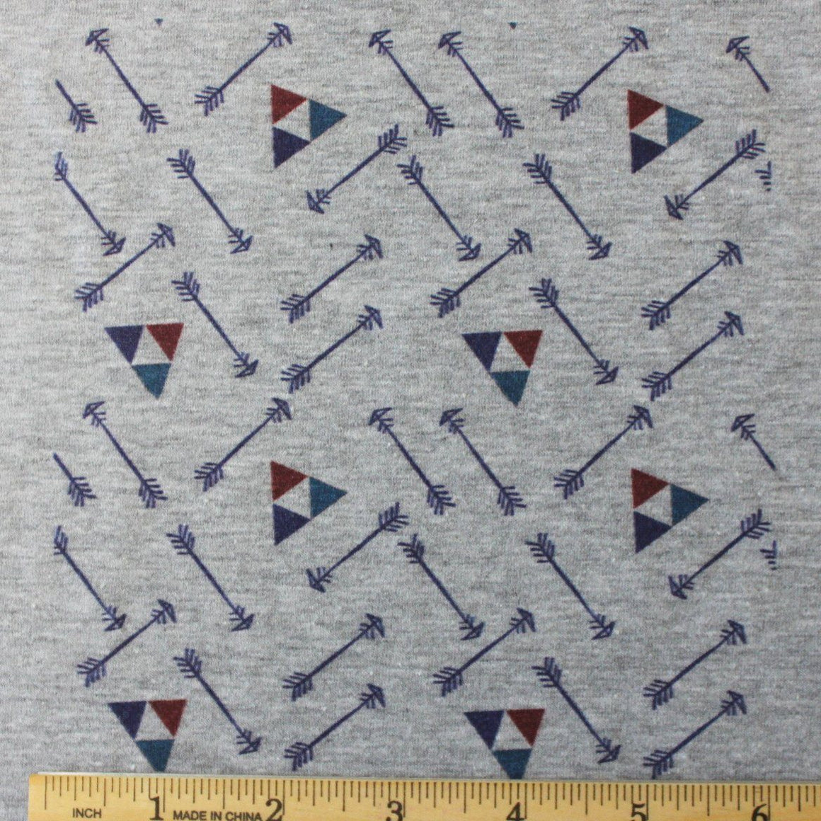 Navy Burgundy and Teal Geometric Arrow Triangle on Grey 4 Way Stretch Jersey Knit Fabric, Retro Greys for Club Fabrics
