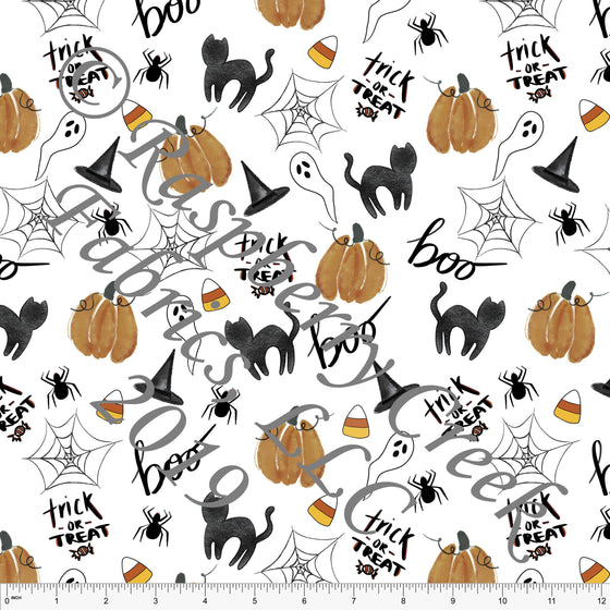 Black White Rust and Orange Tossed Bat Web Cat and Pumpkins, By Kelsey Shaw for Club Fabrics - Raspberry Creek Fabrics