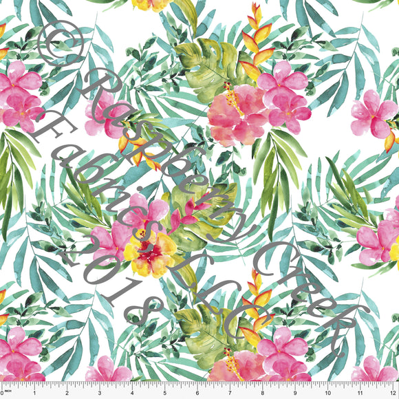 Teal Coral Yellow and Pink Tropical Palm Floral 4 Way Stretch MATTE SWIM Knit Fabric, Club Fabrics
