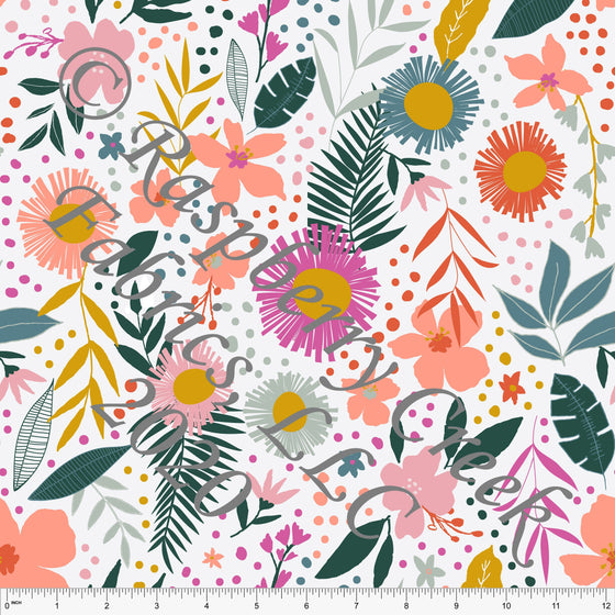 White Coral Fuchsia Mustard and Green Tropical Floral Print Double Brushed Poly Knit Fabric, By Kimberly Henrie for CLUB Fabrics - Raspberry Creek Fabrics