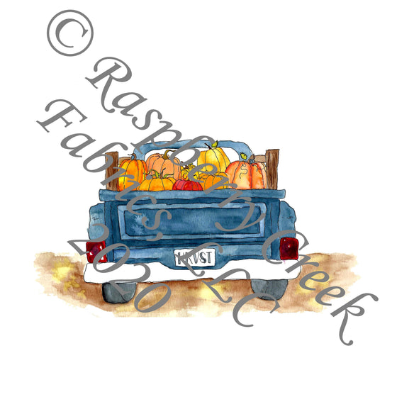 Indigo Blue Orange and Black Fall Pumpkin Truck Panel, Fall Into Halloween By Brittney Laidlaw for Club Fabrics - Raspberry Creek Fabrics
