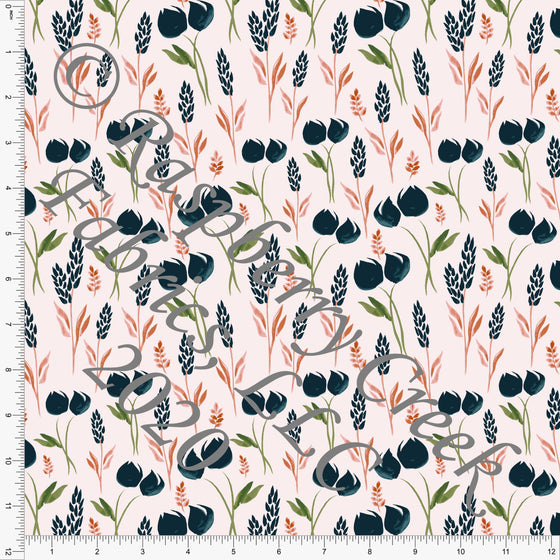 Peach Deep Teal Mauve and Green Tulip Print Double Brushed Poly Knit Fabric, Garden Florals By Lisa Mabey for CLUB Fabrics - Raspberry Creek Fabrics