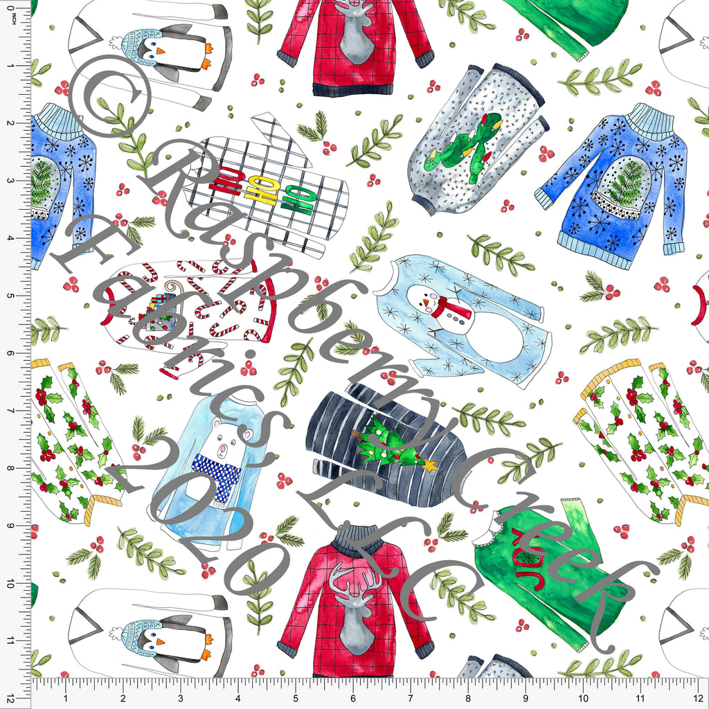Kelly Green Red Light Blue Black and Grey Ugly Sweaters Print, No So Ugly Sweater by Brittney Laidlaw for Club Fabrics - Raspberry Creek Fabrics