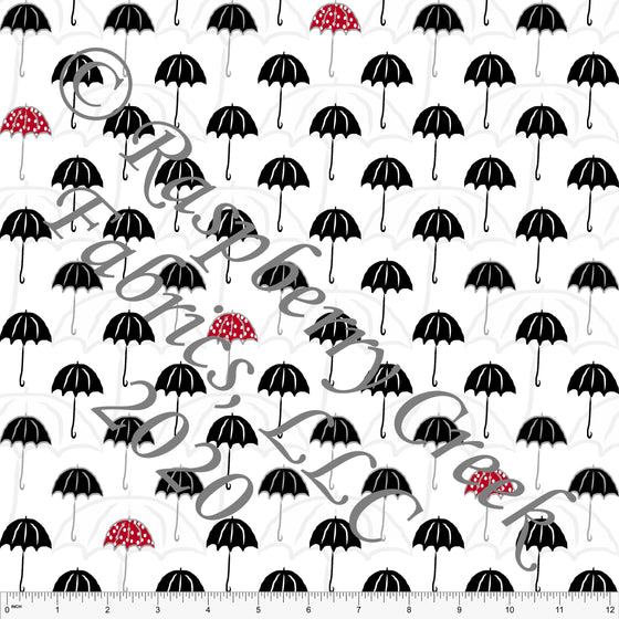 Black White and Red Umbrella Print Double Brushed Poly Knit Fabric, By Elise Peterson for CLUB Fabrics - Raspberry Creek Fabrics