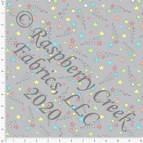 Neon Green Yellow Blue Red and Grey Galaxy Stars Print Double Brushed Poly Knit Fabric, Mythical by Elise Peterson for CLUB Fabrics - Raspberry Creek Fabrics
