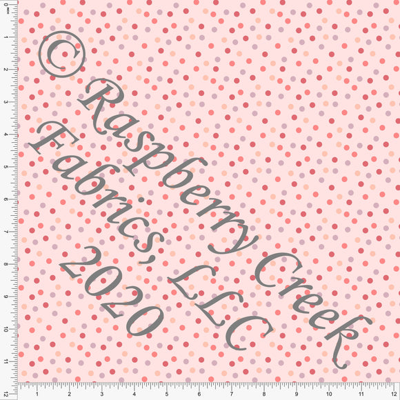 Light Peach Coral Salmon Mauve and Dusty Purple Random Polka Dots on Double Brushed Poly, For Club Fabrics - Raspberry Creek Fabrics