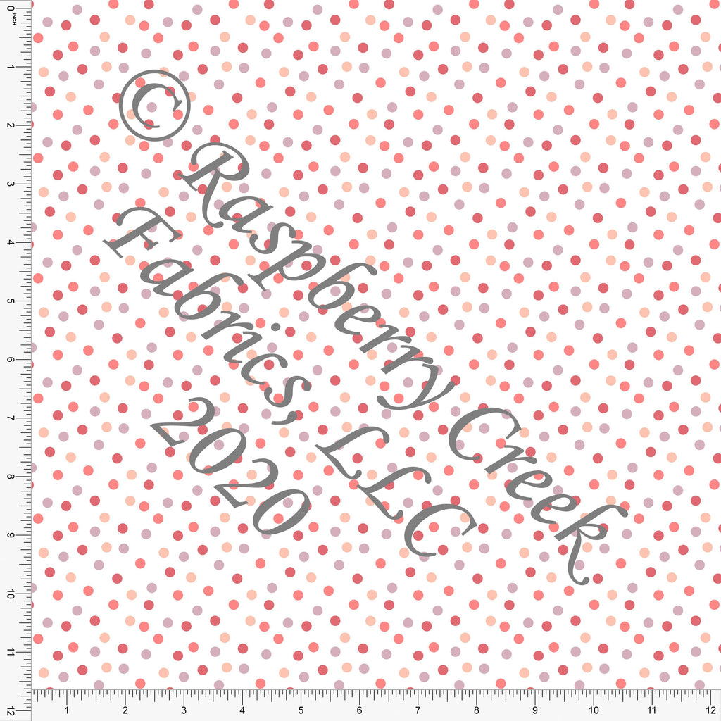 Coral Salmon Mauve and Dusty Purple Random Polka Dots, For Club Fabrics - Raspberry Creek Fabrics
