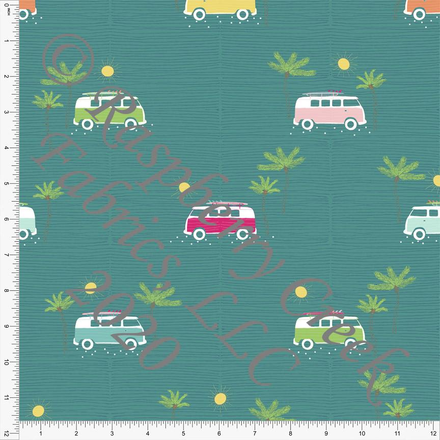 Teal Fuchsia Green Yellow and Light Pink Retro Van Print, California Dreamin By Kimberly Henrie for Club Fabrics - Raspberry Creek Fabrics Knit Fabric