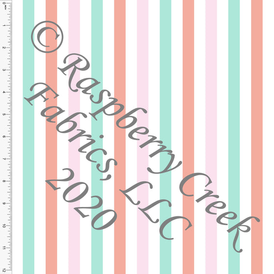 Mint Pink and Coral Vertical Stripes, By Kimberly Henrie for Club Fabrics - Raspberry Creek Fabrics
