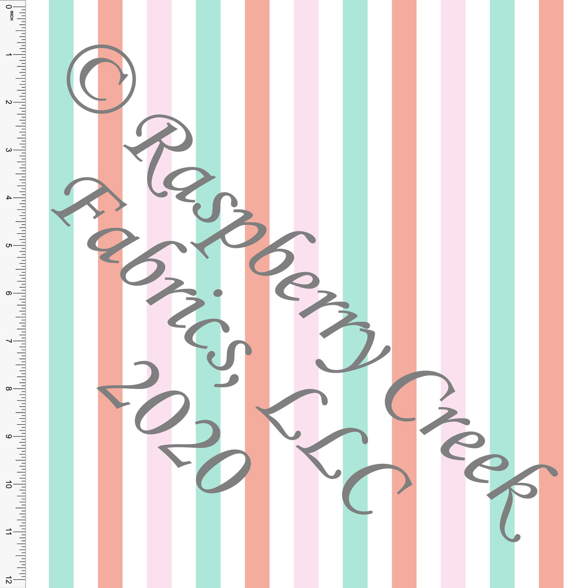 Mint Pink and Coral Vertical Stripes, By Kimberly Henrie for Club Fabrics CLUB