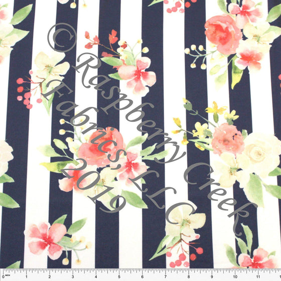 Navy Coral Yellow and Green Vertical Stripe Watercolor Floral 4 Way Stretch Double Brushed Poly Knit Fabric, Brushed Poly for CLUB Fabrics - Raspberry Creek Fabrics