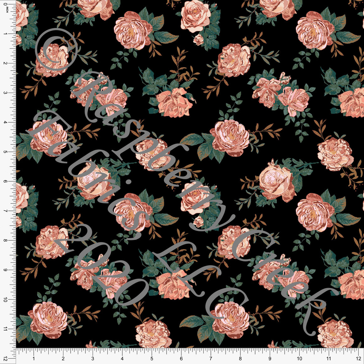 Black Dusty Pink and Hunter Green Vintage Rose Floral Print Double Brushed Poly Knit Fabric, By Kimberly Henrie for CLUB Fabrics - Raspberry Creek Fabrics