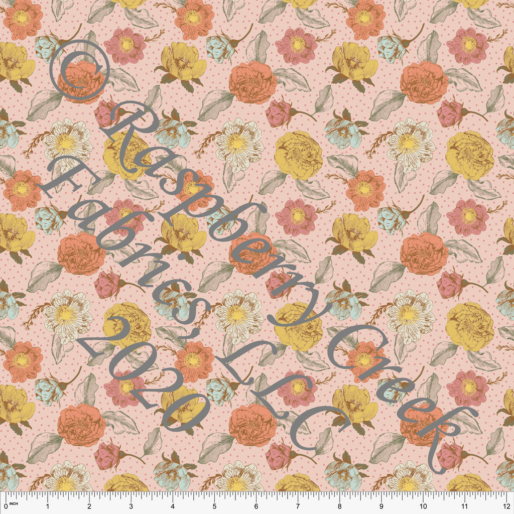Dusty Pink Sage Mustard and Mint Small Vintage Polka Dot Floral Print Double Brushed Poly Knit Fabric, By Kimberly Henrie for CLUB Fabrics - Raspberry Creek Fabrics