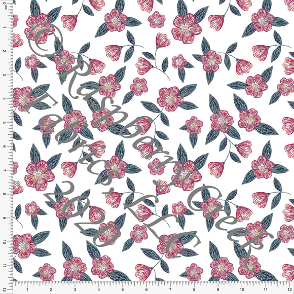 Teal Burgundy Magenta and Yellow Floral, Wallpaper by Tonya Knowlden Club Fabrics - Raspberry Creek Fabrics
