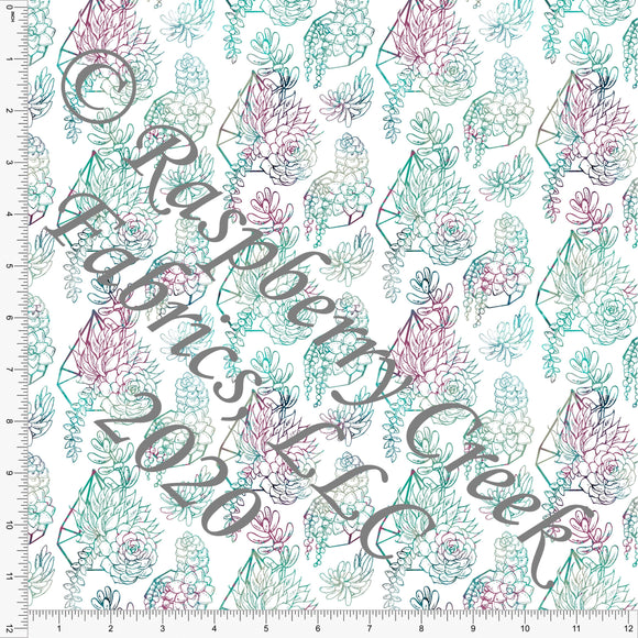 Teal Magenta Burgundy and Sage Succulents, Wallpaper by Tonya Knowlden Club Fabrics - Raspberry Creek Fabrics