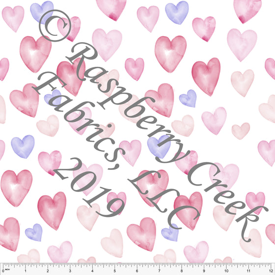 Lilac Pink and Dusty Pink Watercolor Hearts, By Kelsey Shaw for Club Fabrics - Raspberry Creek Fabrics