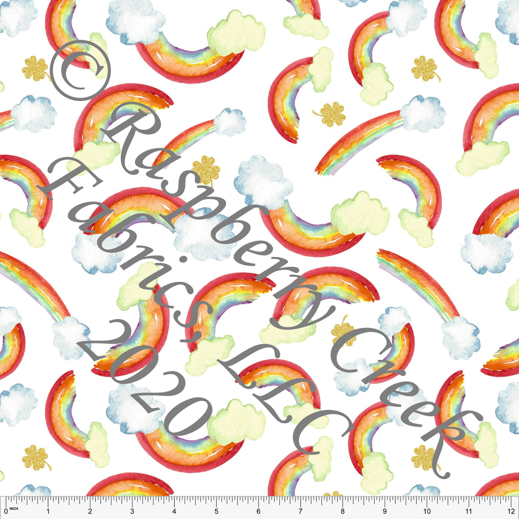 Red Orange Yellow Green and Gold Watercolor Rainbow Print for Club Fabrics - Raspberry Creek Fabrics