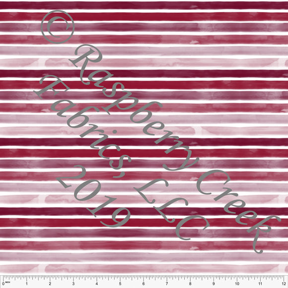 Tonal Burgundy Watercolor Ombre Stripe, By Kelsey Shaw for Club Fabrics