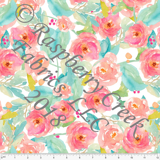 Coral Aqua Pink and Green Watercolor Floral 4 Way Stretch MATTE SWIM Knit Fabric, Club Fabrics