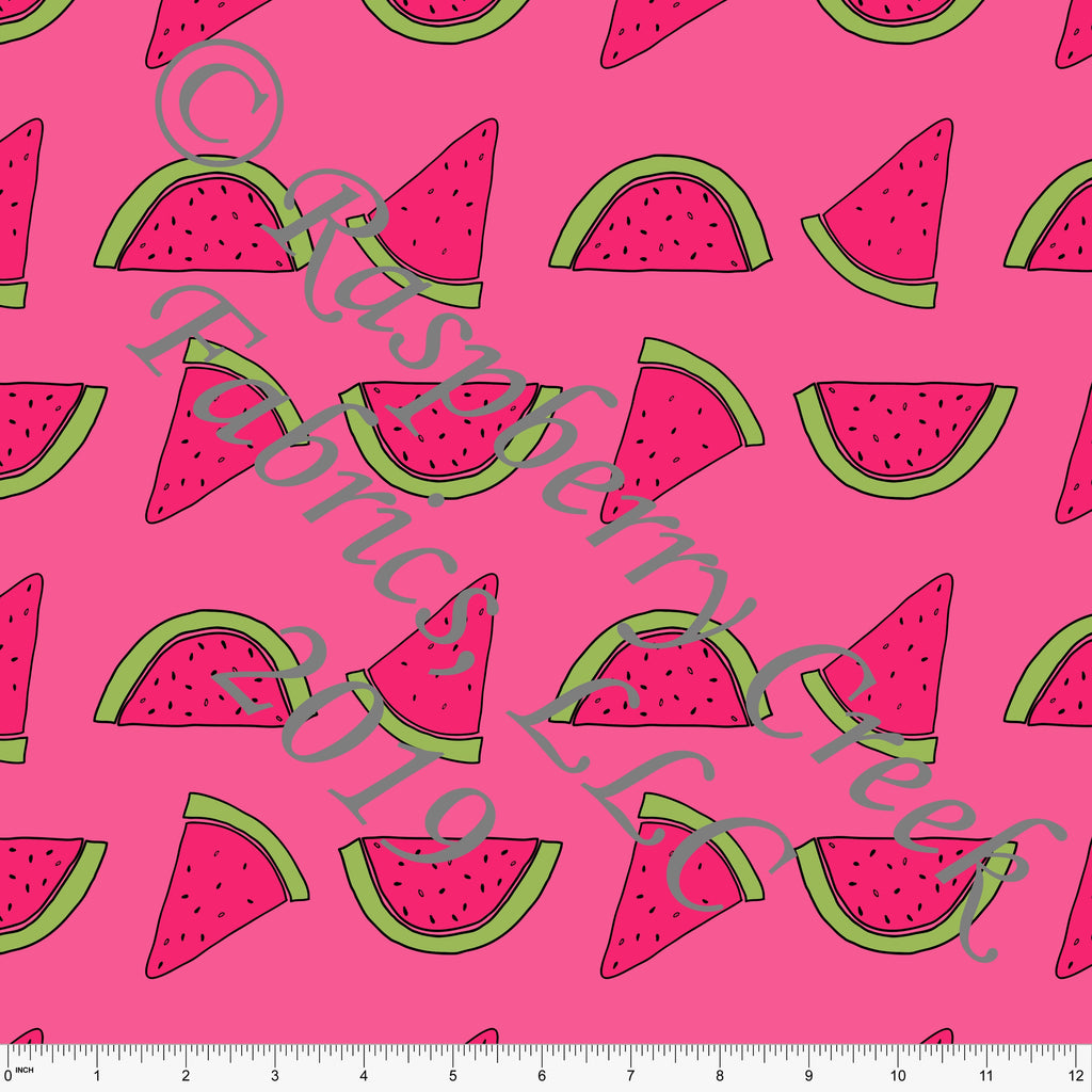 Tonal Fuchsia Pink and Green Tossed Watermelon 4 Way Stretch MATTE SWIM Knit Fabric, By Brittney Laidlaw for Club Fabrics - Raspberry Creek Fabrics