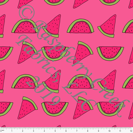 Tonal Fuchsia Pink and Green Tossed Watermelon 4 Way Stretch MATTE SWIM Knit Fabric, By Brittney Laidlaw for Club Fabrics