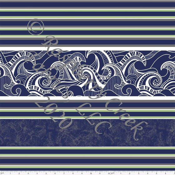 Navy Blue Grey and Green Wave Multi Stripe Print By Emily Ferguson for Club Fabrics - Raspberry Creek Fabrics
