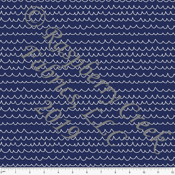 Navy Blue and White Wave Stripe 4 Way Stretch MATTE SWIM Knit Fabric, By Brittney Laidlaw for Club Fabrics - Raspberry Creek Fabrics