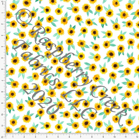 Mint Mustard and White Tiny Sunflowers Print Double Brushed Poly Knit Fabric, By Brittney Laidlaw for CLUB Fabrics - Raspberry Creek Fabrics