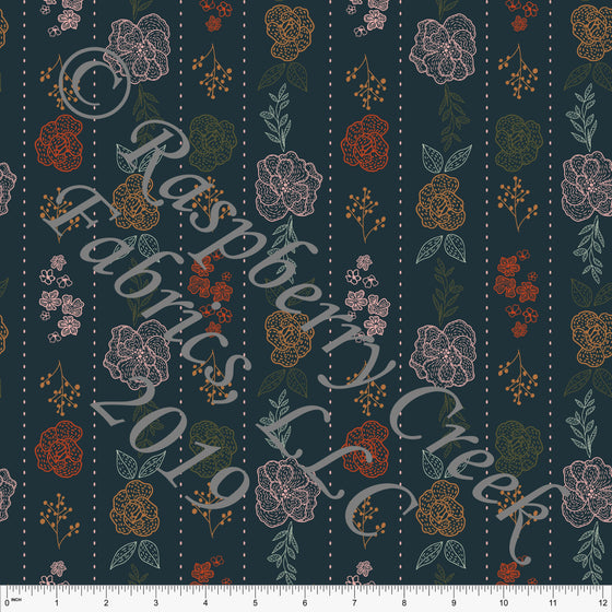 Deep Teal Blush Olive and Bright Rust Wildflower Vertical Stripe 4 Way Stretch Double Brushed Poly, By Kimberly Henrie for CLUB Fabrics - Raspberry Creek Fabrics