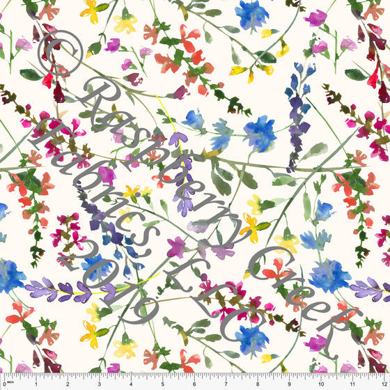 Off White Fuchsia Blue Green and Yellow Wildflower Stretch Crepe, CLUB Fabrics, 1 Yard - Raspberry Creek Fabrics