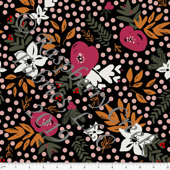 Black Orange Olive and Fuchsia Winter Dream Floral 4 Way Stretch Double Brushed Poly, By Kimberly Henrie for CLUB Fabrics - Raspberry Creek Fabrics