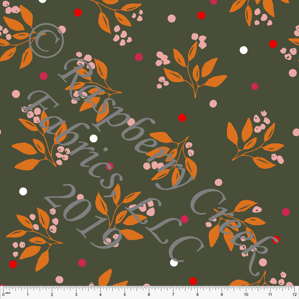 Olive Orange Blush Pink and Fuchsia Winter Dream Dot Leaves Double Brushed Poly, By Kimberly Henrie for CLUB Fabrics - Raspberry Creek Fabrics