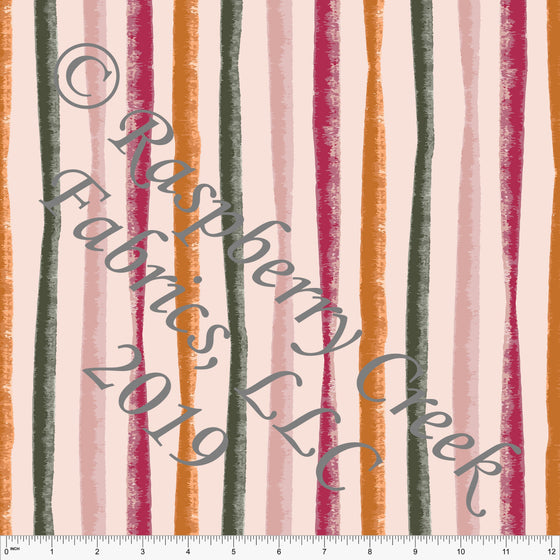 Light Pink Blush Orange Fuchsia and Olive Winter Dream Vertical Stripes 4 Way Stretch Double Brushed Poly, By Kimberly Henrie for CLUB Fabrics - Raspberry Creek Fabrics