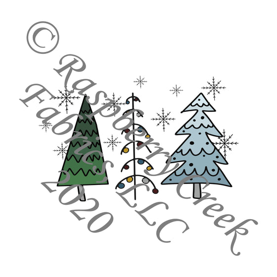 Tonal Teal Grey and Green Christmas Tree Panel, Christmas Trimmings By Brielle Carlson for Club Fabrics - Raspberry Creek Fabrics