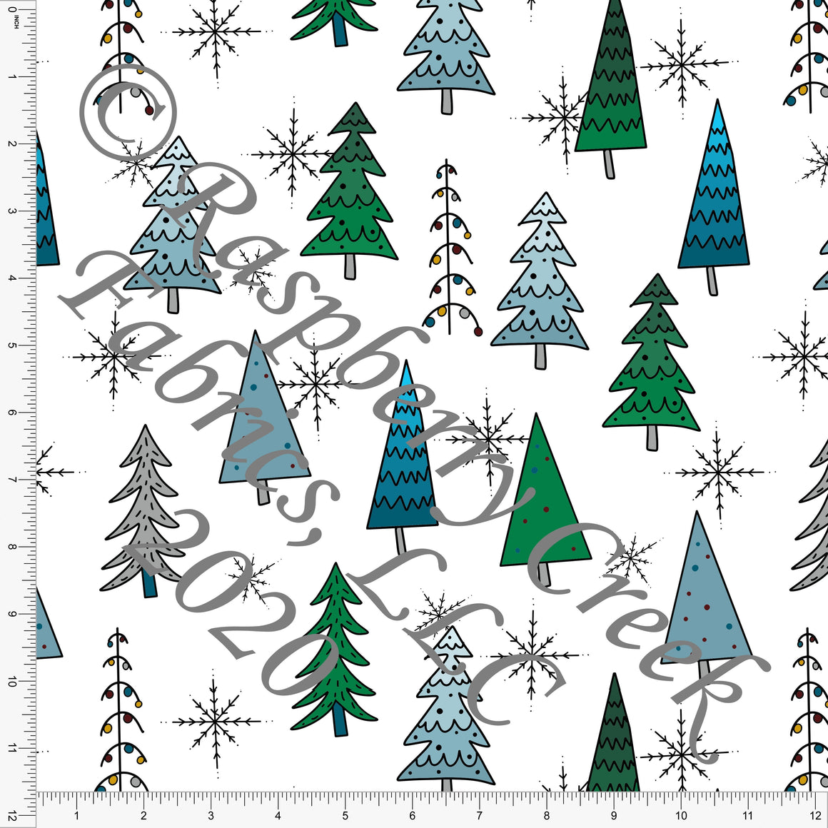 Tonal Teal Grey and Green Christmas Tree Print, Christmas Trimmings By Brielle Carlson for Club Fabrics - Raspberry Creek Fabrics